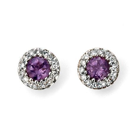 oorbellen amethist diamant Elements GE2027M
