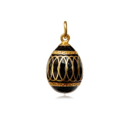 Verguld zilver ei hanger met zwart emaillen en zirkoon Fabergé