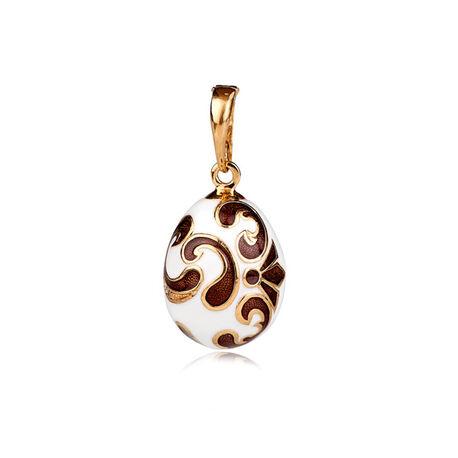 Faberge ei hanger bruin en wit emaille
