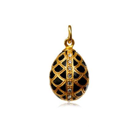 Vergulde ei hanger Fabergé met zwart emaille en zirkoon
