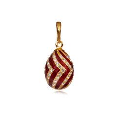 Faberge Hanger Zilver Verguld Zirkoon En Rood Emaille
