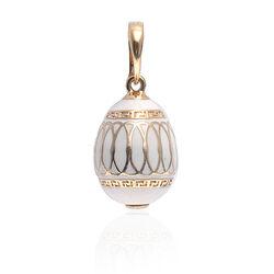 Fabergé vergulde ei hanger wit emaille