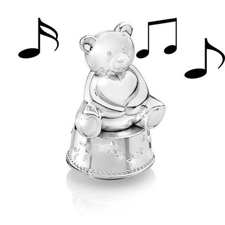 Verzilverde spaarpot en muziekdoos in één van Zilverstad met beer