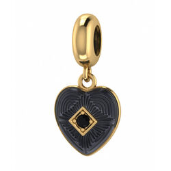 Endless J-Lo Charms Black Big Heart Gold 3875-1