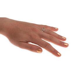 Gouden ring twee verbonden harten met briljant