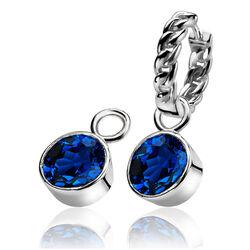 Zilver creoolhangers donkerblauw zirkonia ZICH186db Zinzi