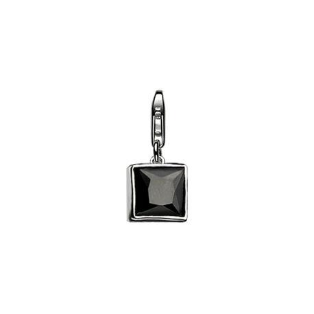 Zilveren bedel met zwart zirconia van Zinzi