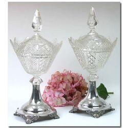 Stel Kristallen Gembercoupes Zilveren Voet