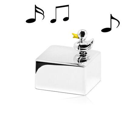 zilveren muziekdoos eend