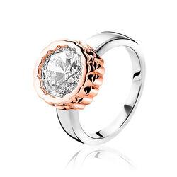 Zinzi Ring Grote Zirkonia Rose Accenten Zir1182d