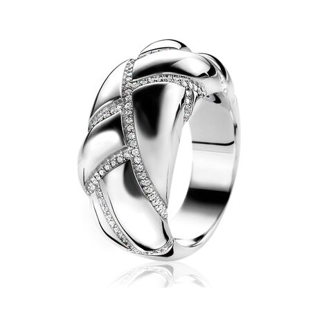 Zilveren ring met zirkonia Mart VIsser by Zinzi MVR8