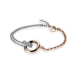 Bicolor zilveren Zinzi armband twee cirkels zia1230