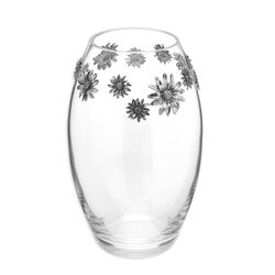 Kristallen vaas met zilveren margrieten Raspini