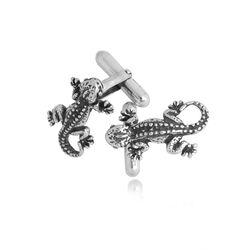 Zilveren manchetknopen gekko