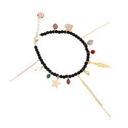 Roséverguld armbandje met onyx en symboolhangertjes