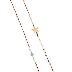 Lange zilveren ketting roséverguld met ster en edelsteentjes