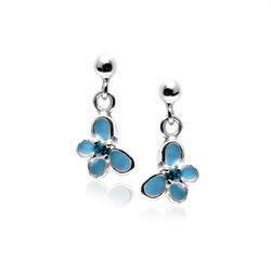 Zilveren Meisjesoorbellen Vlinder Blauw Emaille