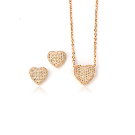 Aanbieding goudvergulde set hart collier met oorstekers