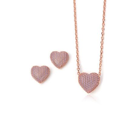 Aanbieding Rosegoud Verguld Collier Met Oorbellen Lavendel Emaille