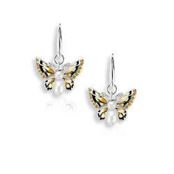 Nicole Barr Oorhangers Vlinders Emaille Diamant En Parels