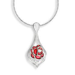 Zilver collier met hanger roos emaille diamant