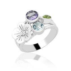 Zilveren Ring Bloem Topaas Peridot Amethist
