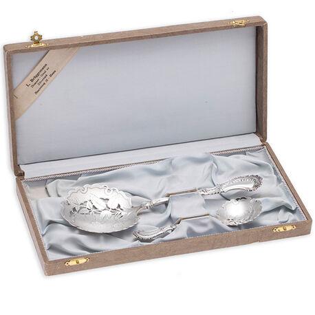 Zilveren natfruitlepel met een strooilepel neo stijl