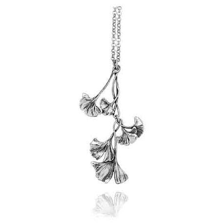 Zilver ginkgo hanger met collier raspini
