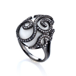 Tatiana Faberge Ring Wit Agaat Met Zirkoon