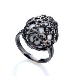 Zilver ring gezwart met agaat en zirkoon