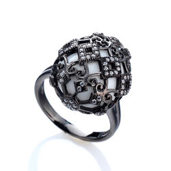 Tatiana Faberge Ring Met Agaat En Zirkoon