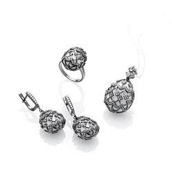 Zwart zilver ring met wit agaat Fabergé