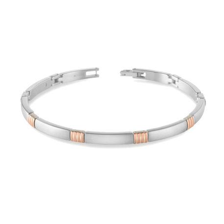 boccia titanium armband met rosé rib 03002-03
