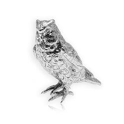 Zilveren tafelstuk uil 5 cm. hoog
