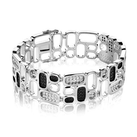 Zilveren armband met zwart en wit zirconia van Mart Visser by Zinzi MVA3z18
