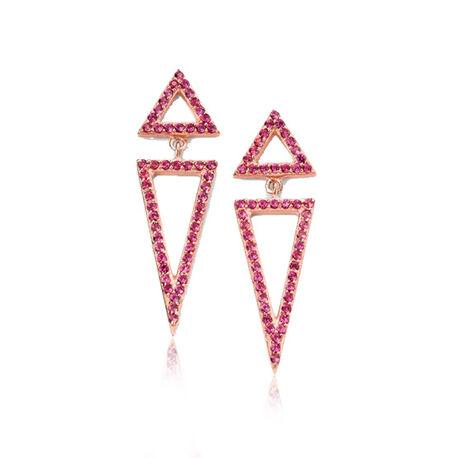 Rosé verguld zilver oorbellen roze driehoeken