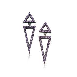 Zilver oorstekers driehoeken paars zirkonia Elements