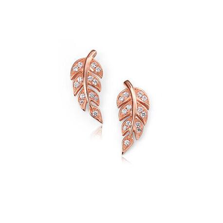 Roséverguld zilver oorbellen blad met zirkonia Elements