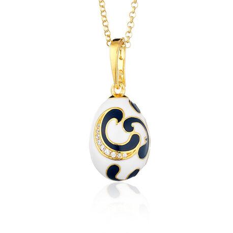 Fabergé ei hanger wit en zwart met zirkoon