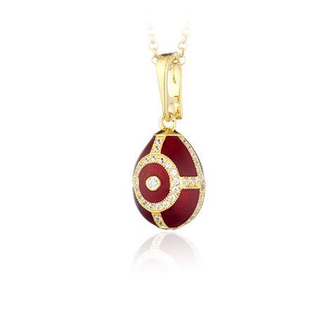 Verguld met rood emaille ei hanger Fabergé