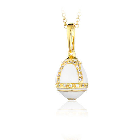 Tatiana Faberge Egg Charms Wit Emaille Zirkoon