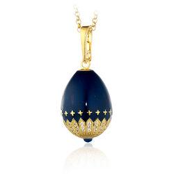 Tatiana Faberge Hanger Verguld Met Blauw Emaille En Zirkoon 01482
