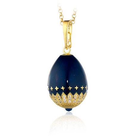 Verguld ei hanger met blauw emaille en zirkoon Fabergé