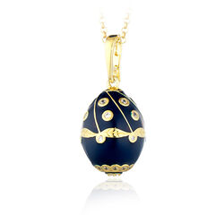 Vergulde ei hanger donkerblauw emaille Faberge
