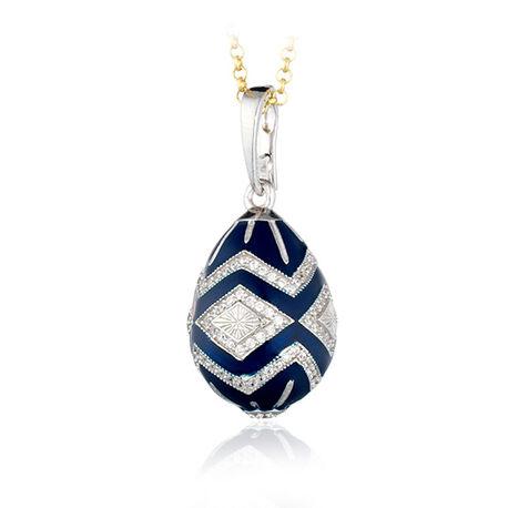 Zilver met donkerblauw emaille ei hanger Fabergé