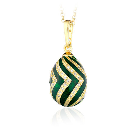 Verguld met groen ei hanger Fabergé