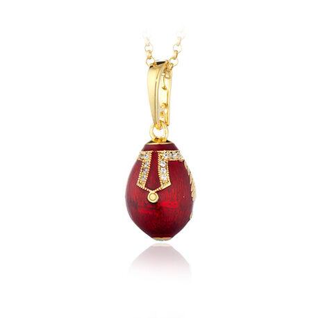 Verguld zilver ei hanger rood emaille F054 Tatiana Fabergé