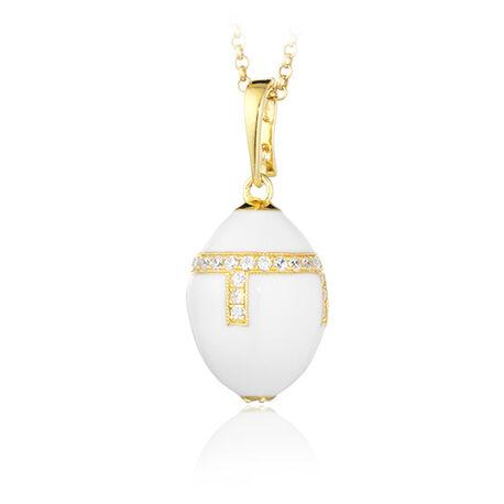 Verguld zilver ei hanger wit emaille met zirkoon Tatiana Fabergé