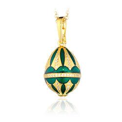 Tatiana Faberge Hanger Verguld Zirkoon Groen Emaille