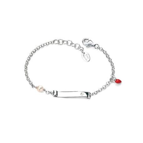 Baby naamplaat armbandje rood hartje D for diamond b4789